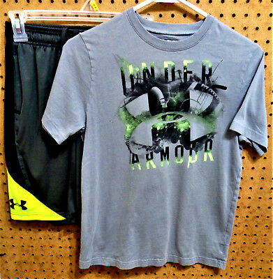 EUC UNDER ARMOUR Youth Boys HEAT GEAR SS Basketball Shirt & Shorts Set Size YMD