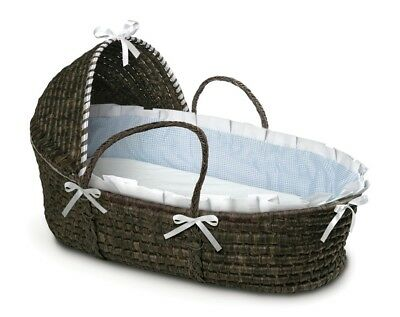 Espresso Dark Brown Baby Infant Moses Basket w/ Hood Blue Gingham NEW