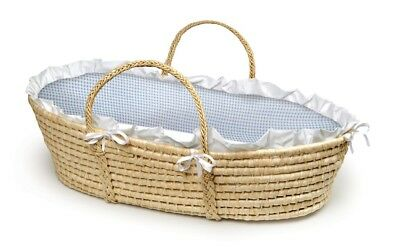 Natural Baby Infant Newborn Moses Basket w/ Blue Gingham Bedding NEW