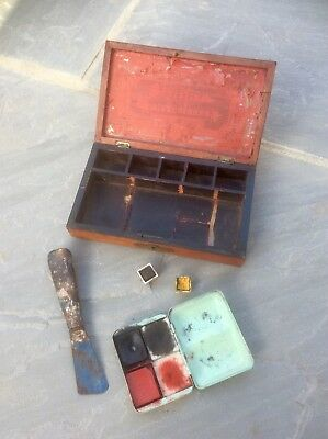Antique Victorian Artists Mahogany Wooden Box,Travel,Painter Field Case,Display