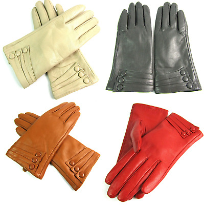 Ladies Womens Super Soft Premium High Quality Real Leather Gloves Fully Lined