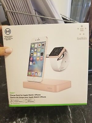 Brand NEW in box, Belkin Valet Charge Dock for Apple Watch +iPhone in Pink