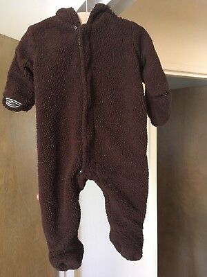 MAGNIFICENT BABY Bear Baby Bunting Snowsuit Pram 6 months Brown Sherpa