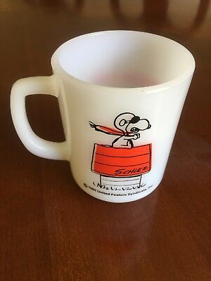 Vintage 1965 Fire King/Anchor Hocking Snoopy Curse You Red Baron Coffee Cup Mug