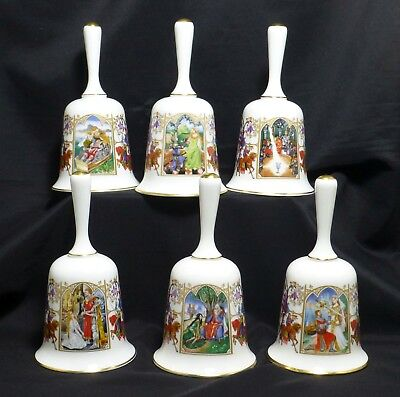 The Romance of Camelot Fine Bone China 24K Gold Trim Porcelain Bell Set Franklin