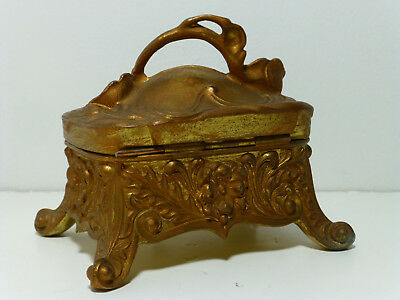 Antique Victorian ART NOUVEAU Metal Bronzed Ring Box Jewelry Casket Silk Lined