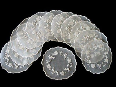 12 PRISTINE Vintage Madeira White Organdy Goblet Rounds Doilies Hand Embroidered