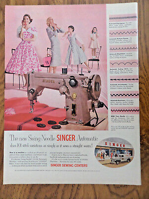 1955 Vintage Singer Sewing Machine Ad Swing-Needle Automatic