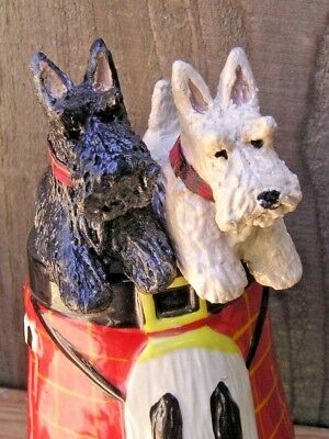 Scottish Terrier -SCOTTIE- pair in a ceramic TARTAN KILT and SPORRAN MUG!
