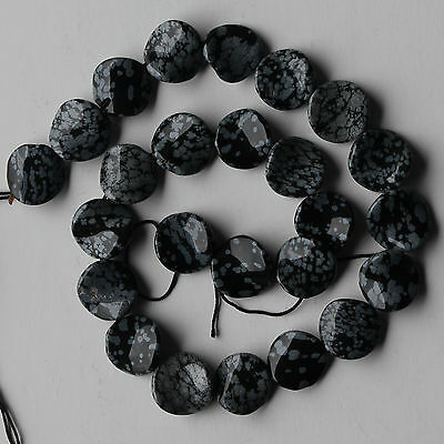 "15mm Black White Snowflake Obsidian Coin Wave Loose Beads 15"" strand"