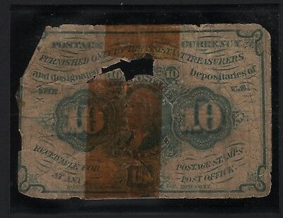 United States 10 CENT POSTAGE CURRENCY NOTE CIVIL WAR ERA  - BARNEYS