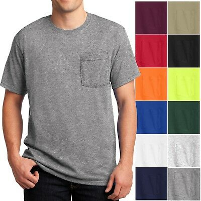 Mens T-Shirt with Pocket Jerzees 50/50 Cotton/Poly Tee Size S, M, L, XL NEW