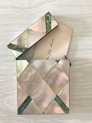 Victorian Mother of Pearl & Abalone Shell Ladies Calling Card Case C1860