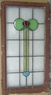 """LARGE OLD ENGLISH LEADED STAINED GLASS WINDOW Floral Heart Abstract 21 x 39.25"""""""