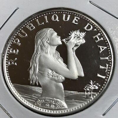 Haiti 1973 Silver Gem Proof 50 Gourdes Woman With Conch Shell Scarce Crown Coin