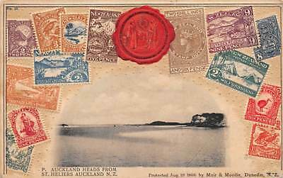 NEW ZEALAND, EMBOSSED STAMP PC VIEW OF AUCKLAND HEADS FROM ST HELIERS dated 1906