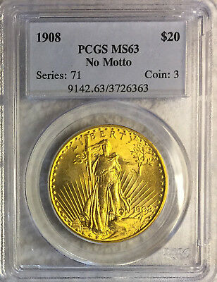 1908 $20 Double Eagle Gold Pcgs Ms63 No Motto