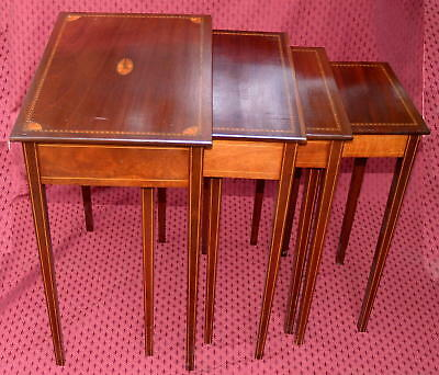 Set of Four Inlaid Mahogany Nested Tables - Probably English from About 1900