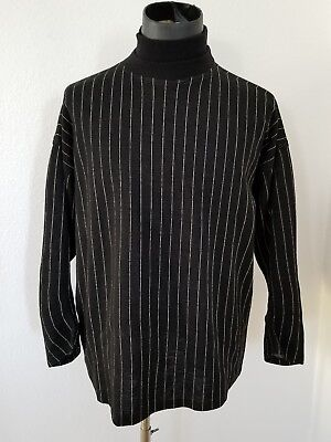 Vintage GIANNI VERSACE men's wool black mock turtleneck sweater 48IT  M