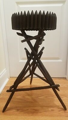 Antique Arts & Crafts Table Adirondack Folk Art Stick Twig Plant Stand 25""