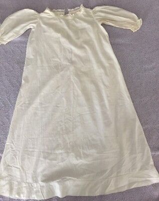 Antique White Cotton Long Baby Christening Gown Baptismal Nightgown