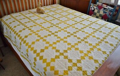 Gorgeous Hand Stitched Antique Nine Patch Quilt with Flying Geese  Never Washed