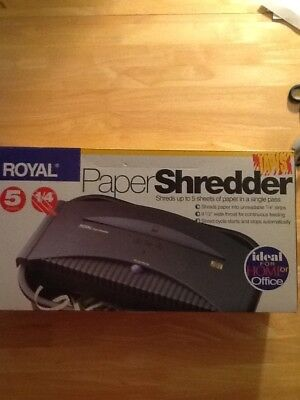 "Royal Paper Shredder 5 Sheets 1/4"" Strips Model JAWS"