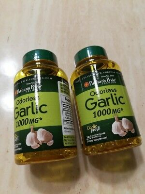 2 X 250 Pills ODORLESS GARLIC EXTRACT 1000mg Softgels Capsules - Puritan's Pride