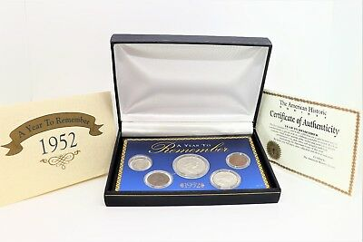 Year to Remember 1952 Commemorative Coins Set of 5 coins w/ BOX & COA