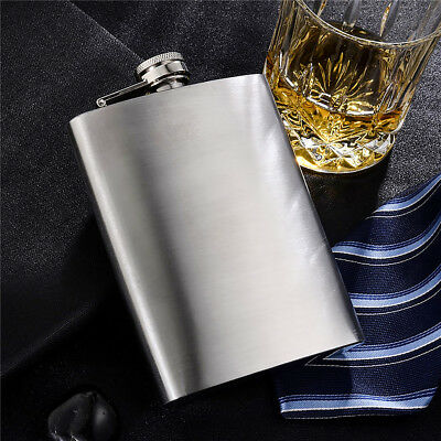 Portable Stainless Steel Hip Flask Flagon Polish Wine Pot Bottle 8 oz with Cap