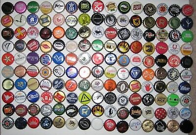 150+ ASSORTED BEER BOTTLE CAPS (Each Different) Many Colors!!! A