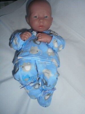 Handmade dolls clothes (Winter pyjamas), to fit 35cm, 14 inch La Newborn doll.