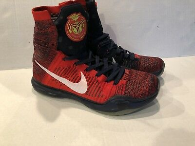 info for a9ba7 97655 NIKE Kobe Bryant 10 Elite High USA American 718763-614 MENS 10.5 Red White  Blue
