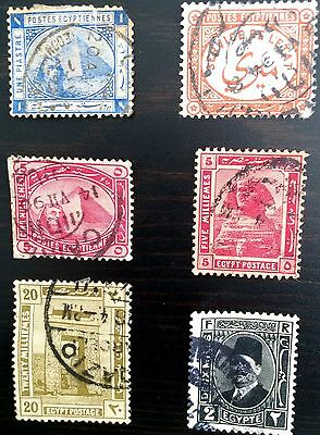 Antique Rare Collectible Set Of Egypt Egyptian Postage Stamps