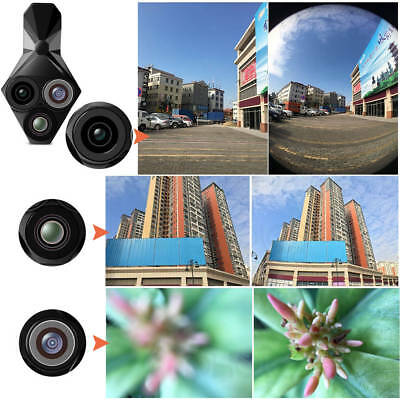 3 in1 Wide Angle+Fish Eye+Macro Clip On Camera Lens Kit For Universal Cell Phone