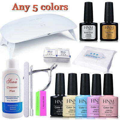 24W Led Uv Lamp Any 5 Colours Gel Nail Polish Base Top Coat Manicure Tools Hnm