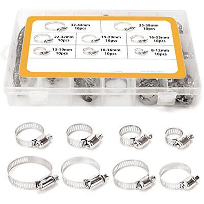 80pcs 8mm-44mm Stainless Steel Adjustable Range Fuel Line Worm Gear Hose Clamps