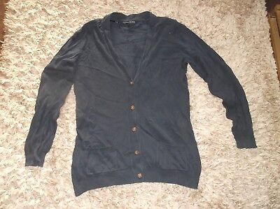 LOVELY Ladies navy cardigan with brown elbow patches    size 16  VGC