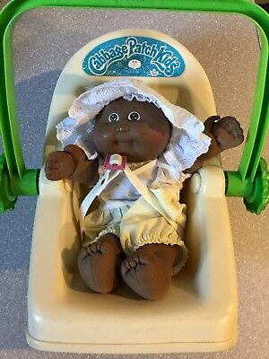 1985 Cabbage Patch Doll Baby Dark Brown Skin And Carrier Seat 1983,vintage,retro