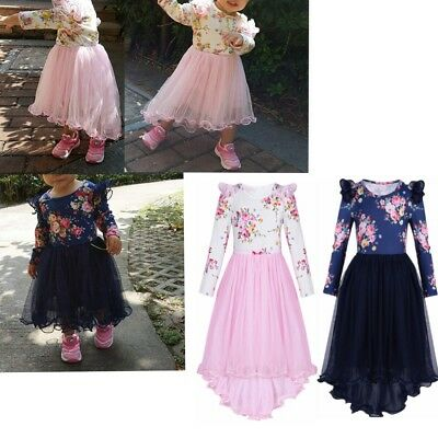Kid Girls Long Sleeve Floral High-low Dress Infant Outfit Holiday Party Dresses