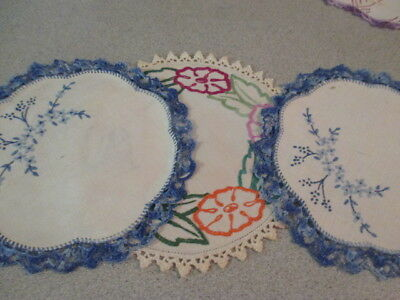 Retro Hand Embroidered 3 Circular Doilies. Blue Pair. Dainty & Useful. LOOK!