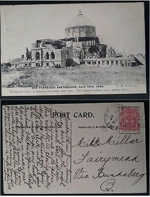 1906- NSW Australia Postcard from Lismore with Scene of San Francisco Earthquake