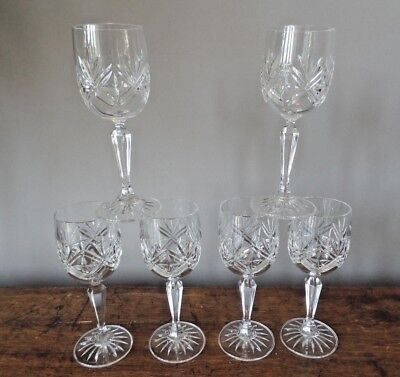Six Edinburgh Crystal Ness Cut Sherry Glasses 5 7/8 Inches 1St Quality Signed