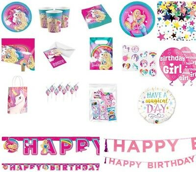 Barbie Dreamtopia Unicorn Girls Birthday Party Plates, Napkins, Cups, Tableware