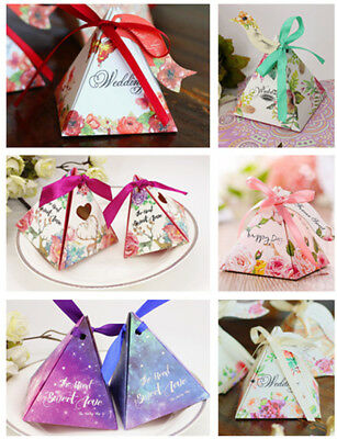 100X Pyramid Wedding Favour Candy Boxes Sweet Spring Flower Party Favor Gift Box