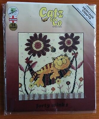 Heritage Crafts Cross Stitch Kit - Cats & Co called Forty Winks