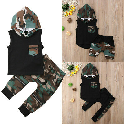 AU 2PCS Toddler Kids Baby Boy Hooded Tops T-shirt Camo Pants Outfit Set Clothes