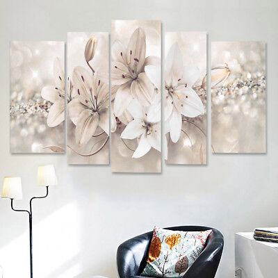 5X Modern Abstract Flowers Canvas Print Painting Wall Art Picture Home Decor UK