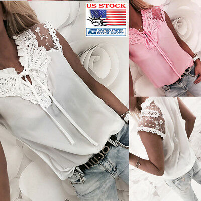 Fashion Women Summer Loose Casual Ladies Sleeveless Lace Up T Shirt Tops Blouse