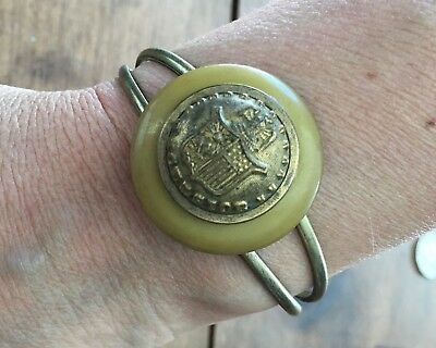 Antique MILITARY Brass Button Bracelet Cuff ~ Vintage Buttons NICE One of a kind